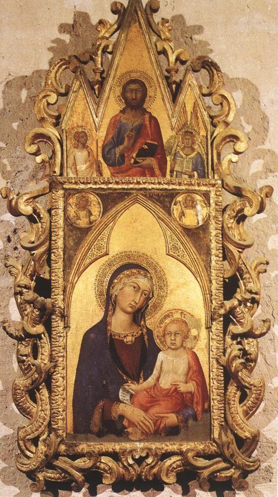 Мадонна с младенцем и ангелами и Спаситель. 1320 Дерево, темпера. Museo dell'Opera дель Дуомо, Орвието