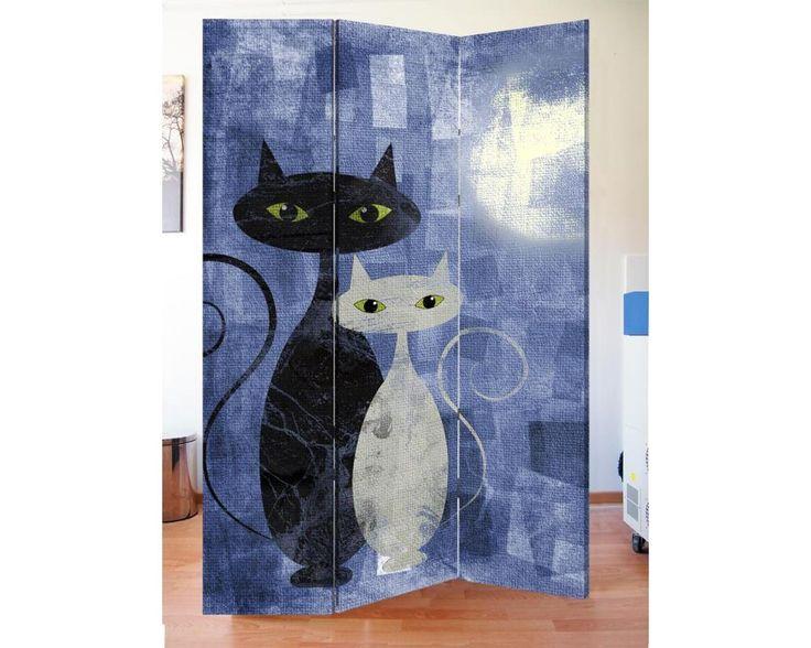 The cats blue,πτυσσόμενο διαχωριστικό ( Παραβάν,ξύλινο ή καμβάς)