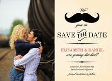 Yellow Vintage Mustache Save The Date Announcement - inexpensive invitation for your wedding on a budget #vintagewedding #weddinginvitation #cheap #budget