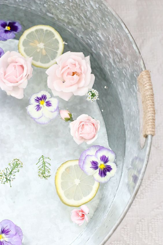 home spa with lemon and flowers