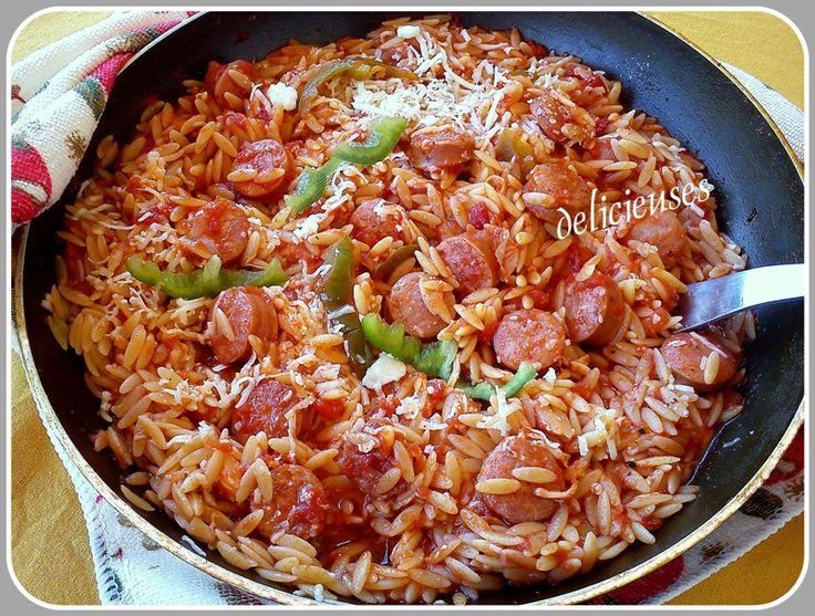 Κριθαράκι στο τηγάνι με λουκάνικα  http://delicieuses.forumotion.net/t3622-topic#44094