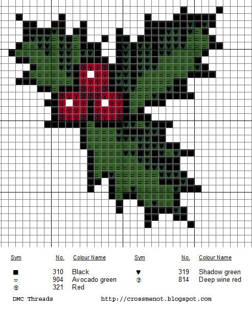 Everybody knows some holly makes for a festive cross-stitch. Get the free chart from Cross Me Not