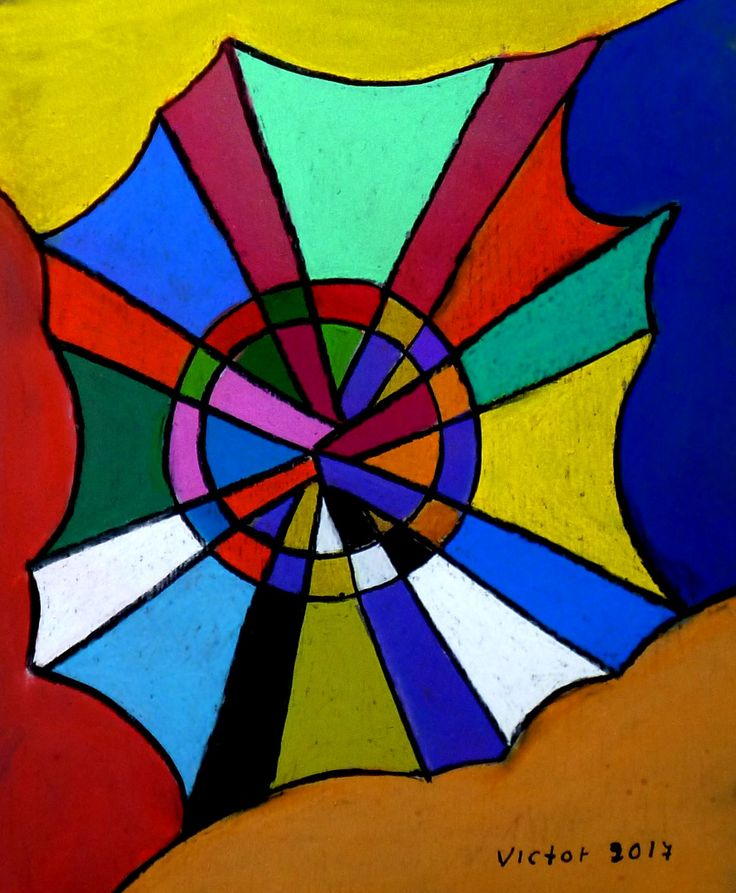 Abstrakt 519, pastell. Abstract 519, pastel.
