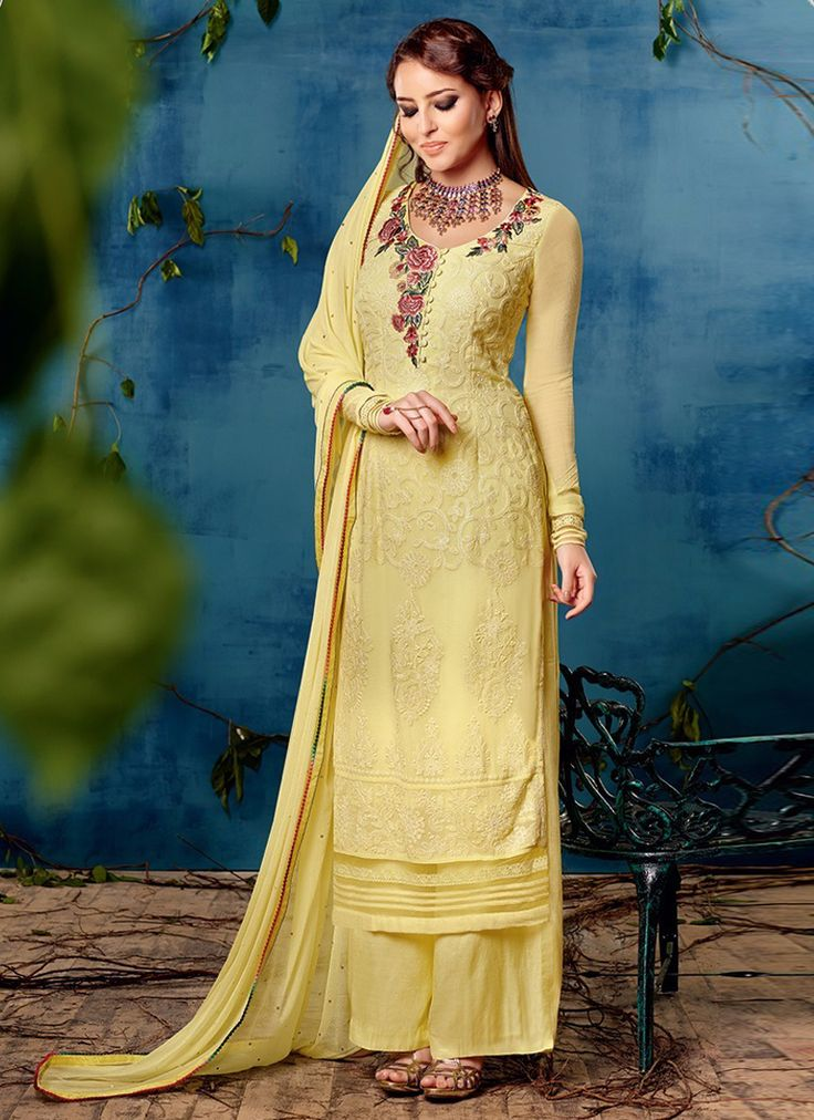Sparkling Embroidered Work Yellow Georgette Designer Palazzo Suit