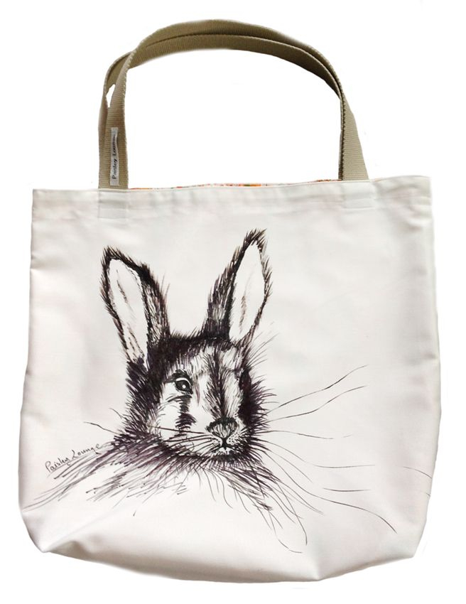 Rabbit tote - hand painted, fully lined with webbing handles
