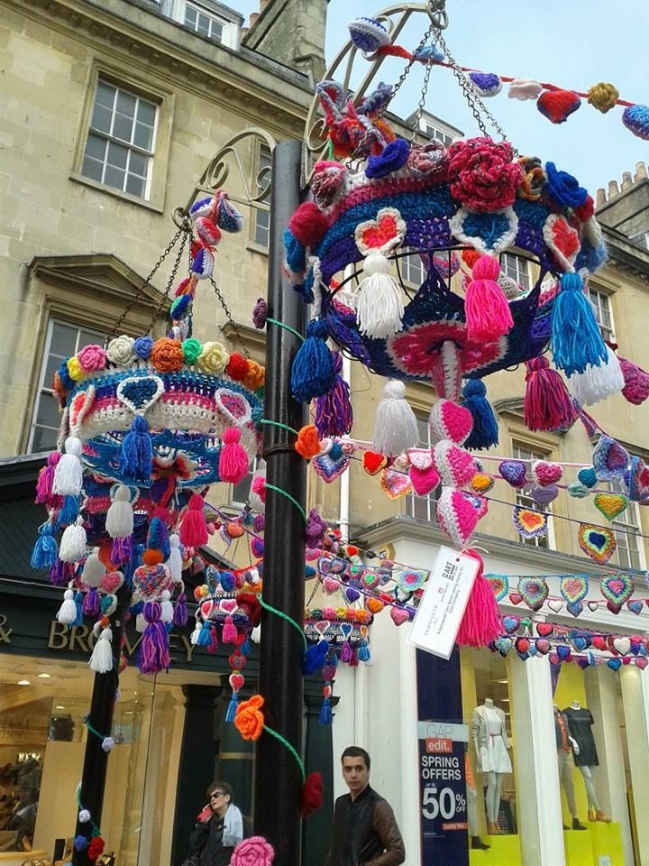 Yarn-bombing in Bath as part of Bath in Fashion Week 2015