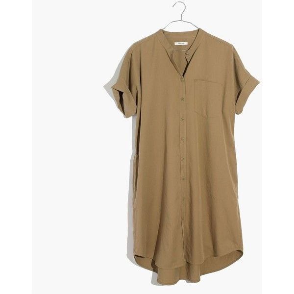 MADEWELL Khaki Button-Down Shirtdress ($98) ❤ liked on Polyvore featuring dresses, light latte, military dresses, long button up shirt dress, khaki dresses, button down dress and long shirt dress