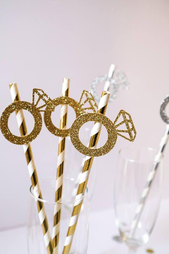 10 – Glitter Diamond Ring Stripe Foil Paper Straws Gold, Silver, Rose Gold – Wedding, Hen Party, Engagement Party – Jontal's Bridal Shower
