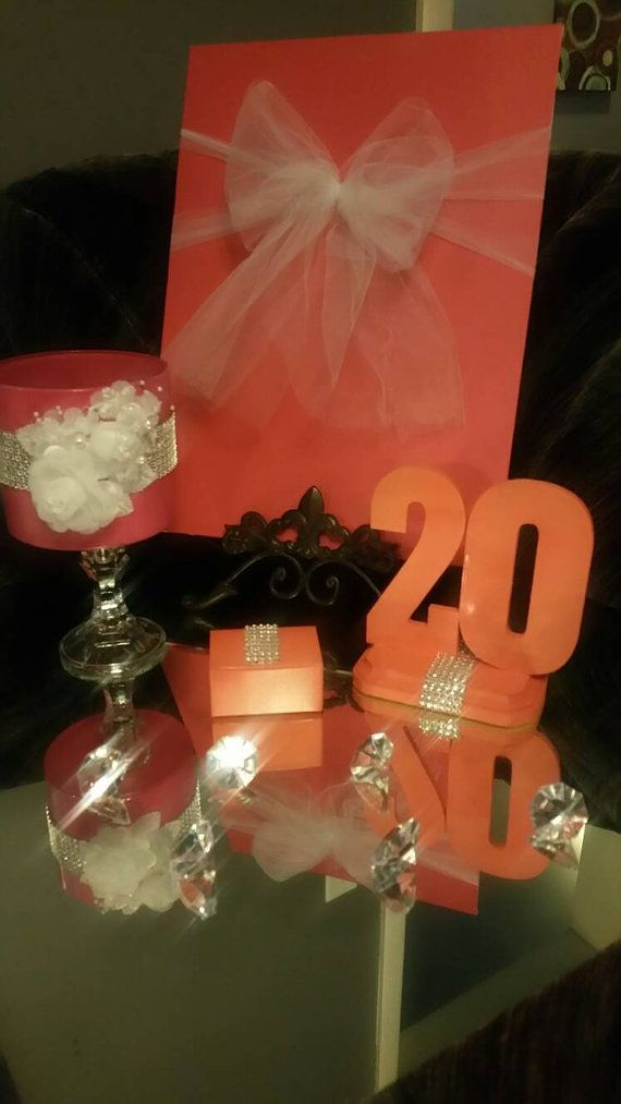 Coral Embellished Table numbers 1-10 by ForeverFancyFavors on Etsy