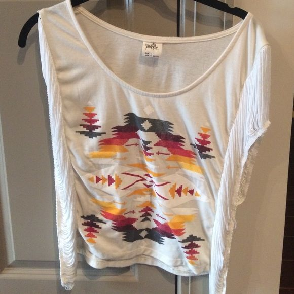 Tribal shirt! Only worn once! Great condition! The sides are open so a great light shirt! Black Poppy Tops