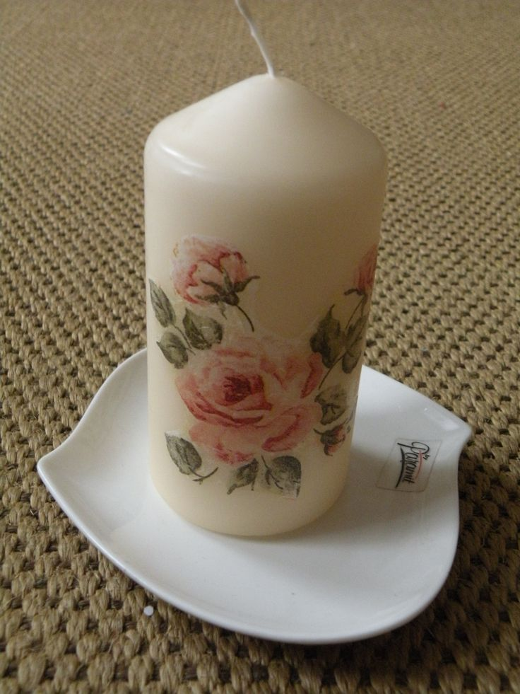 Decoupage candle by Lenka | Decoupage candles and stones ...