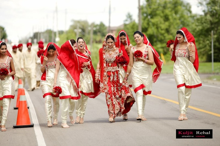 Love this color scheme overall - for bride and bridesmaids. But sarees for the bridesmaids, and with White primary color.