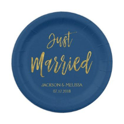 Just Married Navy Blue and Gold Foil Paper Plates - gold wedding gifts customize marriage diy unique golden