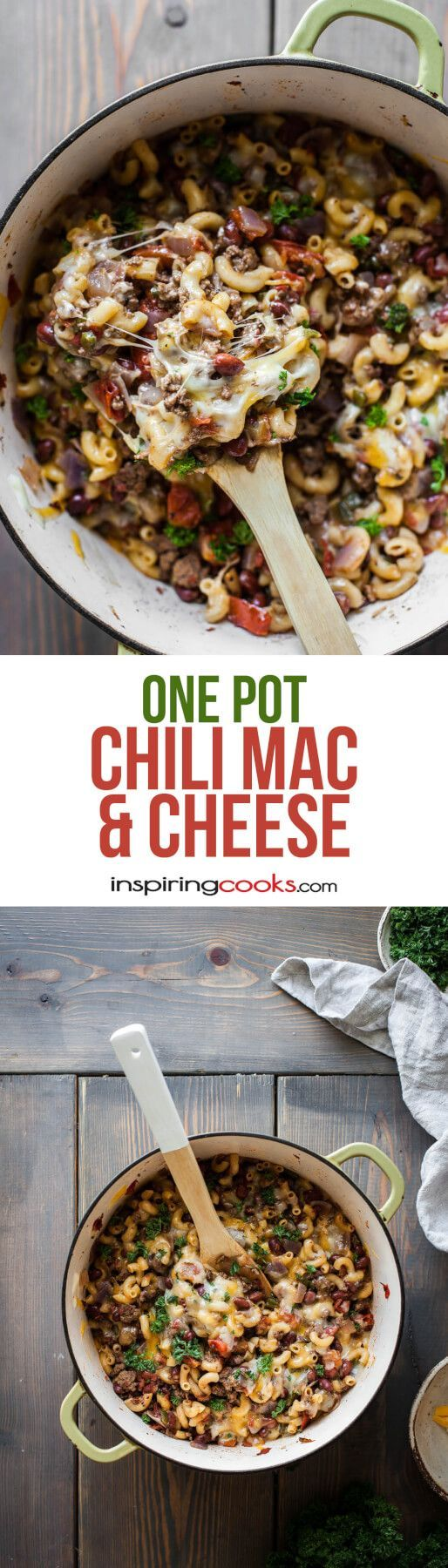 This one pot chili mac and cheese only takes about 20 minutes to make! I make it all the time for weeknight dinners or family parties, because both children and adults LOVE it.