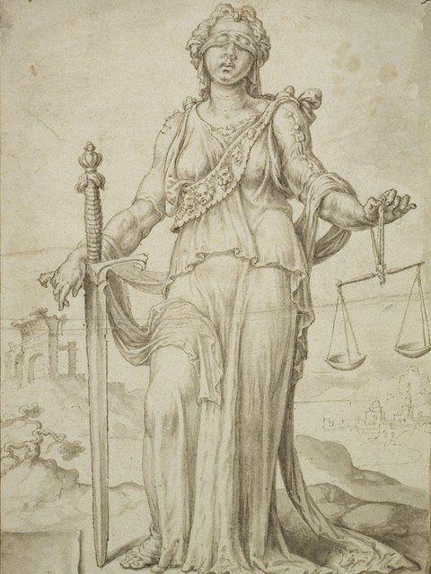 Poster, Leinwandbild »Justitia Menschen Frau Zeichnung«