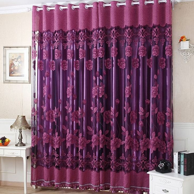 Voile Curtain Semi-Shade Luxury Floral Sheers Window Valance Balcony Drapes 1PC #Unbranded #Asian