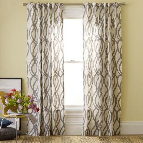 West Elm Scribble Lattice Curtains In Living Room