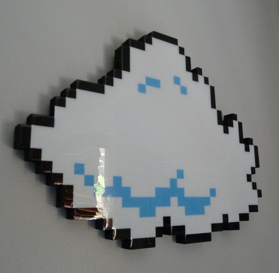 every cloud has a pixellated lining (number 1) - 8 bit cloud art.