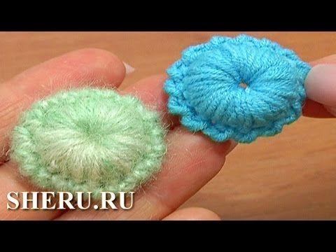 Crochet Button Pattern Урок 7 Вязание отдельного элемента в виде ягодки - YouTube
