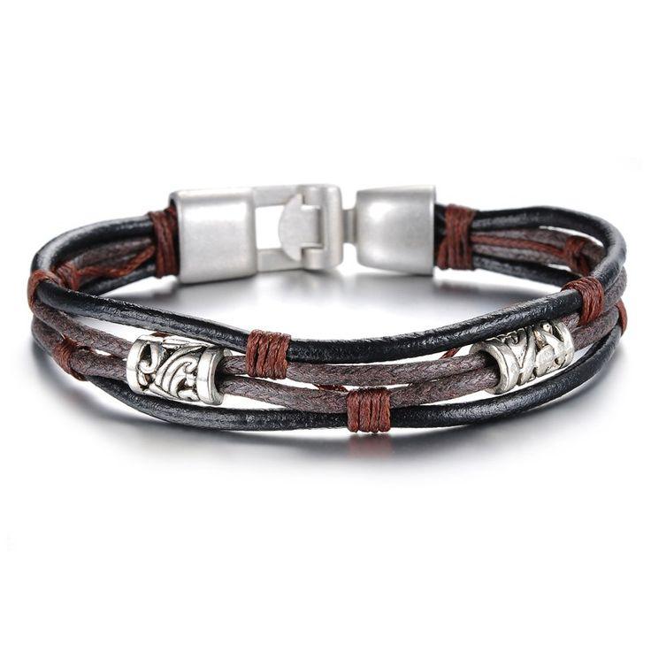 OPK Handmade Multi-Layer Man Bracelet New Fashion Leather Punk Rock Jewelry For Men Vintage Design Accessories Christmas Gifts - Bracelets World
