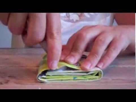 Portemonnee maken van pakje drinken - make a wallet from a little can / packet - YouTube