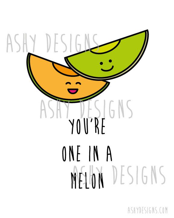 You're ONE IN A MELON Wedding Anniversary by AshyDesigns on Etsy