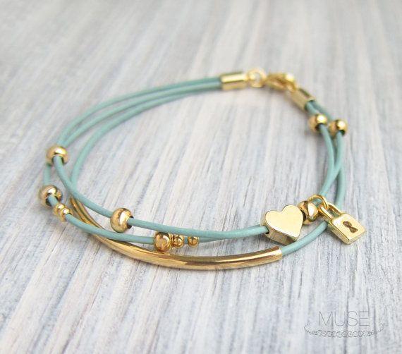 Gold Charm Leather Bracelet - Layered Bracelet, Gold Bar Bracelet, Multi Strand, Pastel Blue Cord, Stacked Bracelet - Heart and Lock
