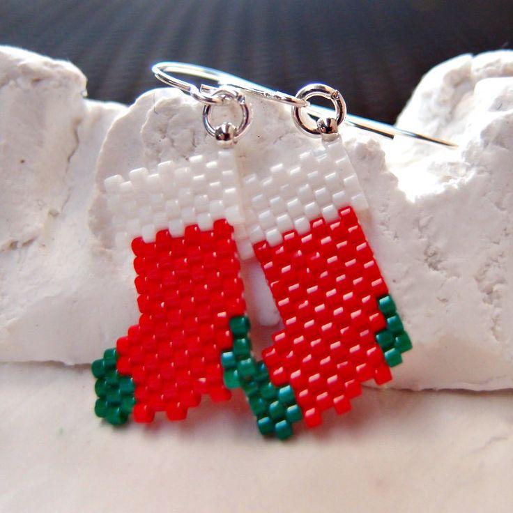 Peyote Stitch Christmas Stockings Beaded Earrings by BeadCrumbs