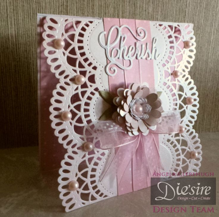 Angela Clerehugh – Create a Card - 6 x 6 Card – Die'sire Create A Card Beatrice – Centura Pearl – Die'sire Cherish Die - Itsy Bitsy Bloom Quilling Die – Stamen Quilling Die – Bloom Quilling Die – Distress Ink (Tattered Rose) – Collall Tacky Glue – Paper from own stash – Pearls - Ribbons - #crafterscompanion