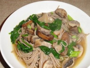 Soba Noodle Soup with Mixed Mushrooms and Spinach | Food, etc ...