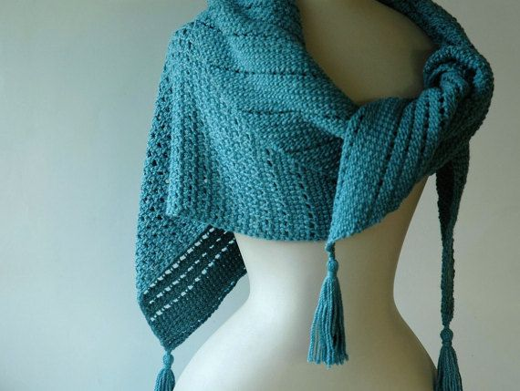 Blue green triangle shawl tunisian crochet by KororaCrafters