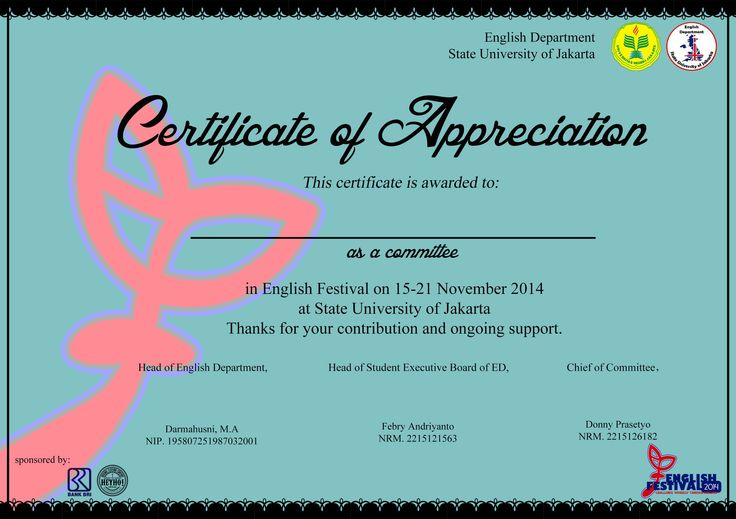 Certificate of Appreciation - Committee - E FEST (certificate sample) #uchiliciousproject #2014