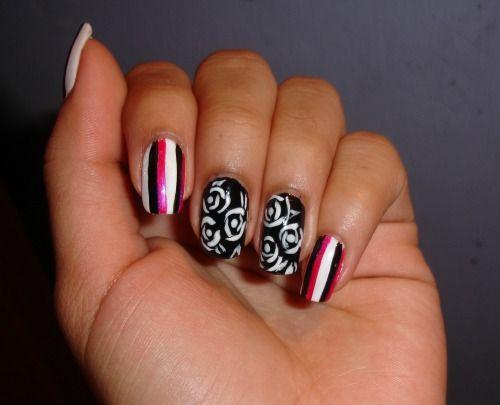 Diseño de uñas de rosas