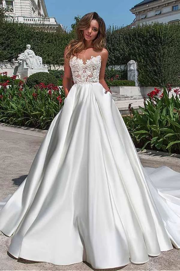 Satin Neckline A-line Open Again Lace Marriage ceremony Gown With Pockets Lace Appliques PH497