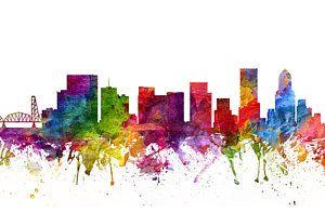 Portland Skyline Painting - Portland Cityscape 06 by Aged Pixel