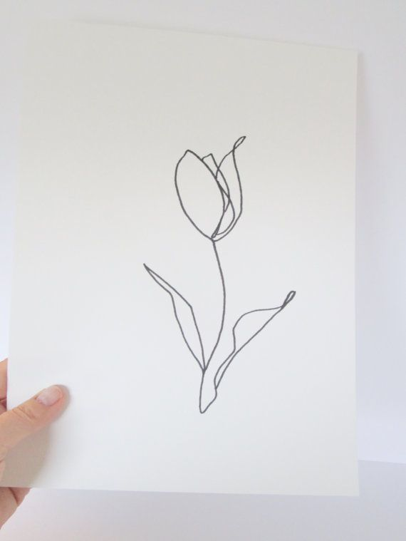 ORIGINAL Botanical Drawing ORIGINAL Minimalist Flower by ARTseas