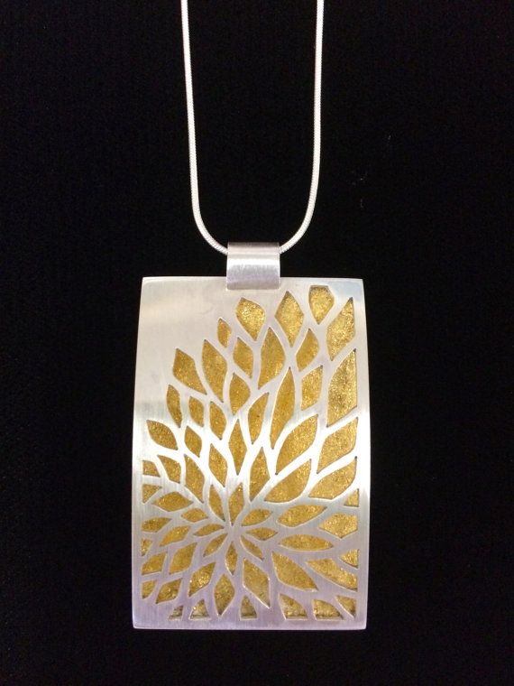 Hand Pierced Peony Necklace with Gold Leaf by sarahboodesigns, $500.00