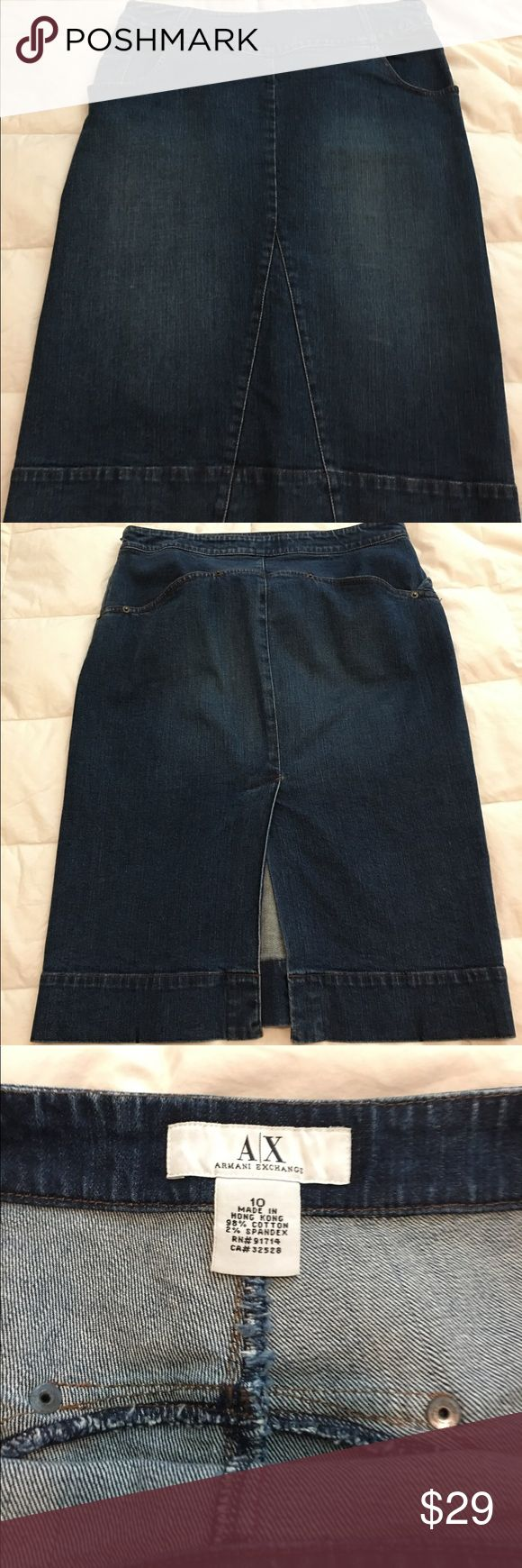 Armani Exchange stretch jean skirt Dark denim with some stretch, midi length, with pockets front and back. This is an awesome skirt that is so figure flattering and it's Armani! A/X Armani Exchange Skirts Midi