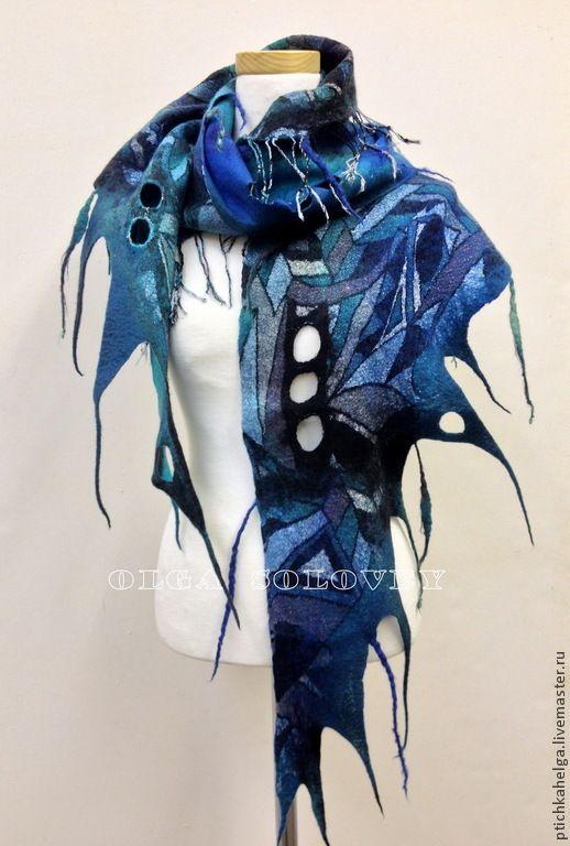 Купить шарф валяный БИРЮЗОВАЯ ГЕОМЕТРИЯ - тёмно-бирюзовый, шерсть 100%, лен, натуральные материалы