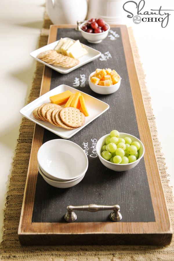 """DIY Serving Tray. No more guessing """"what's that??"""" at your next party -- so easy to just write on the chalk board. That's very Clever! More"""