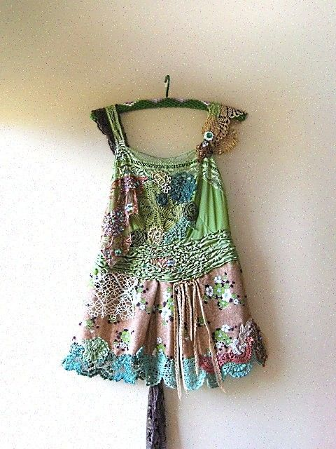 Recycled camisole, recycled silk scarf, lace, and old doilies are redyed and made into this lovely top.