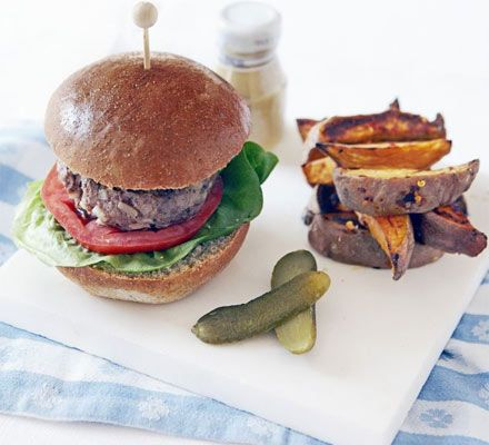 Give hamburgers a healthy makeover by oven-cooking lean beef and serving with wholemeal bun and sweet potatoes