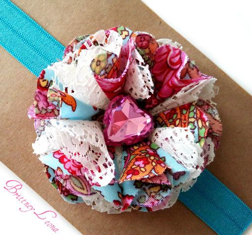 Fabric Flower Headband with Heart Button Center