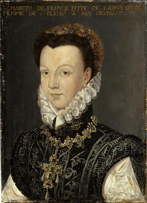 ELISABETH DE VALOIS queen of Spain PROVENANCE French school, ca 1560, Versailles photo RMN a possible copy of Anguissola  Daughter of Catherine de Medici, Queen of France and 3rd wife of Phillip II after Manuela of Portugal and Mary Tudor, Queen of England.