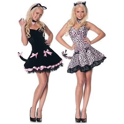 Sexy-Kitty-Costume-Adult-Womens-Cute-Black-Cat-Halloween-Fancy-Dress