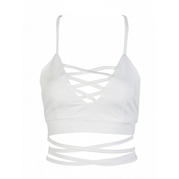 Choies White Lattice Strappy Back Cross Crop Top ($13) ❤ liked on Polyvore featuring tops, white, strappy top, strappy crop top, cropped tops, spaghetti-strap top and strap crop top