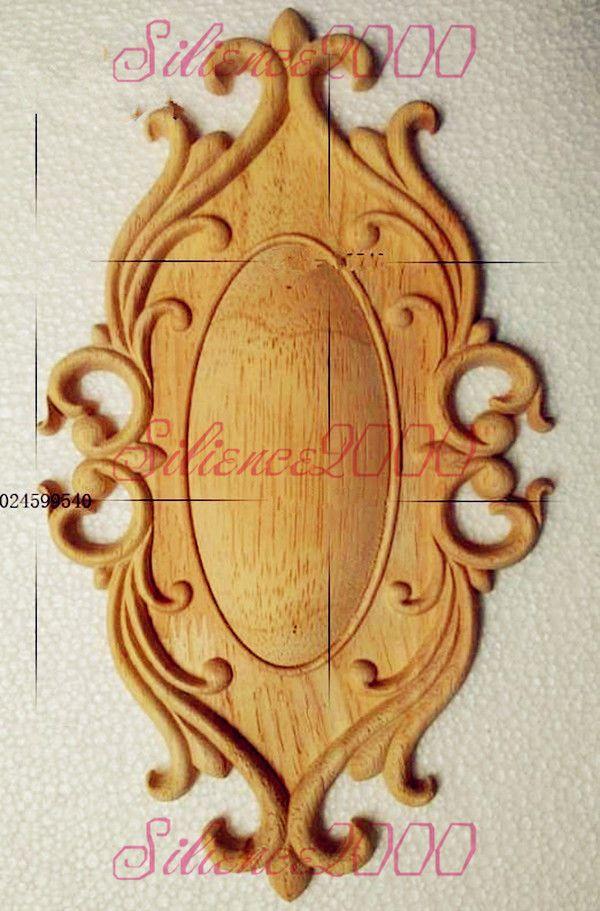 New Unpainted Wood Oak Carved Ellipse Onlay Applique Furniture Home Decor.  | eBay
