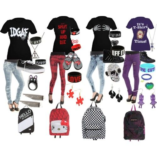 Cute Emo Outfits | fashion look from August 2011 featuring Hello Kitty flip flops and ...
