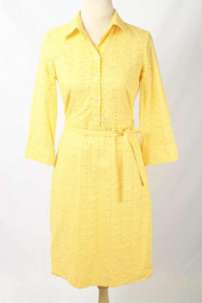 Talbots Size 6 Yellow Floral Eyelet Tie Belt Shirt Dress 1429 L417  | eBay