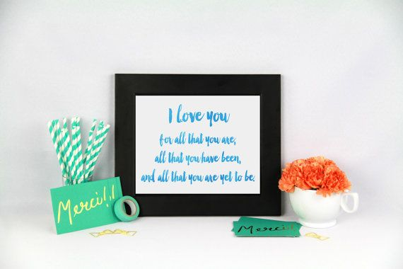 I love you print Blue watercolor typography by Papierscharmants